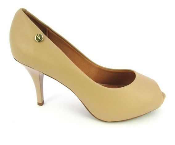 Sapato Feminino Peep Toe Vizzano Pelica Beje