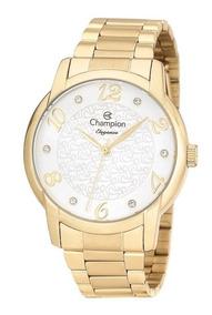 Relógio Feminino Champion Cn26224w Dourado Semi Joia
