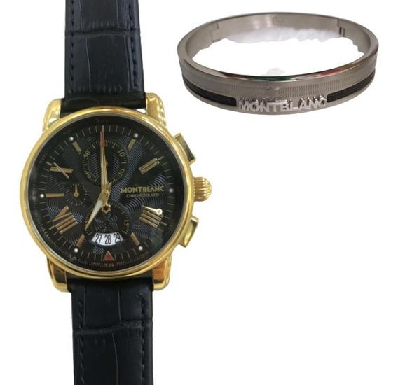 Relógio Montblanc Chronograph New - Pulseira Couro Autentico