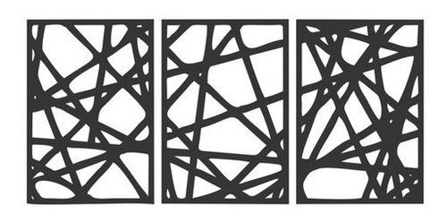 Imagem 1 de 3 de Quadro Decorativo Listras Abstrato Em Mdf Preto - Promoção