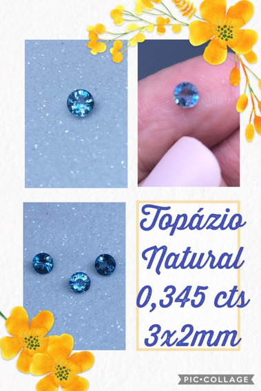 Topázio 0 300 Cts Redondo Natural 3x2 Mm Azul Unica