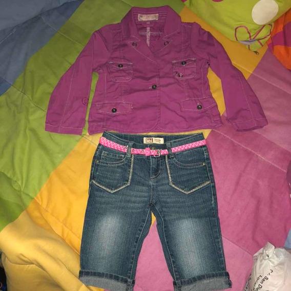 Dúo Chaqueta Y Bermuda Jeans Niña Talla 7