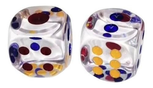 Dados Grandes Transparente Puntos Azules,rojos Poker Mazugi