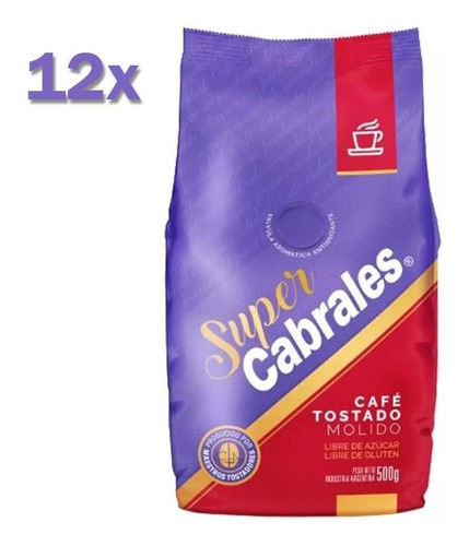 12x Cafe Molido Super Cabrales 500gr 6kg Tostado