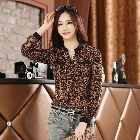 Blusa Casual Leopardo Talla S