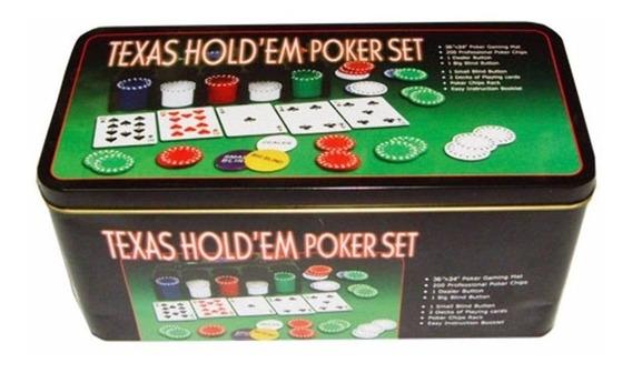 Kit De Poker Iniciante Com 200 Fichas + Baralho + Botões