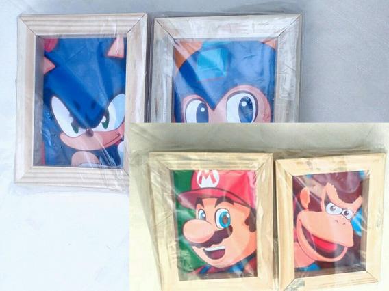 Quadros Mario, Sonic, Megaman E Donkey Kong + Frete 10 Reais