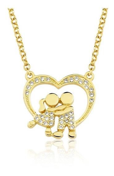 Colar Semijoia Folheado Casal Coração Zircônias Ouro 18k