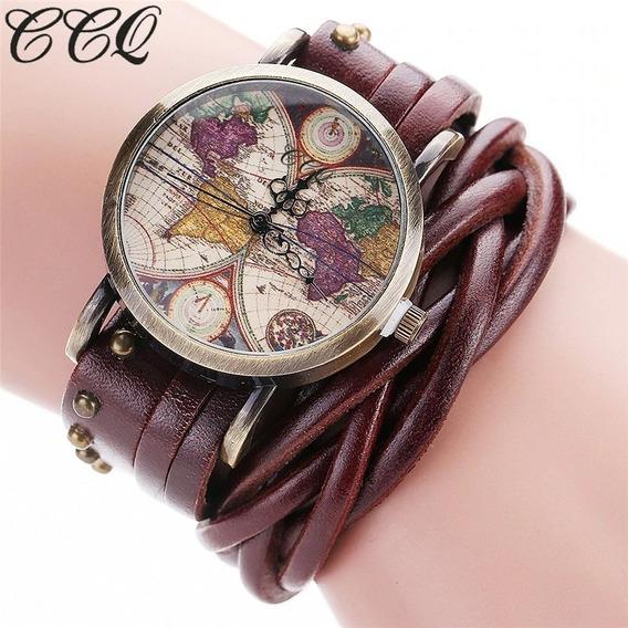Relógio Vintage Ccq Mapa Mundi Pulseira Couro Frete 10,00