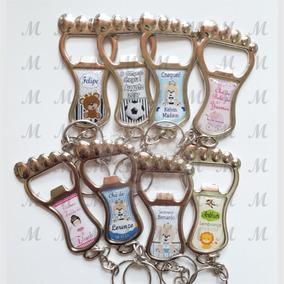 60 Chaveiro Metal Pezinho C/ Abridor, Lembrança Maternidade
