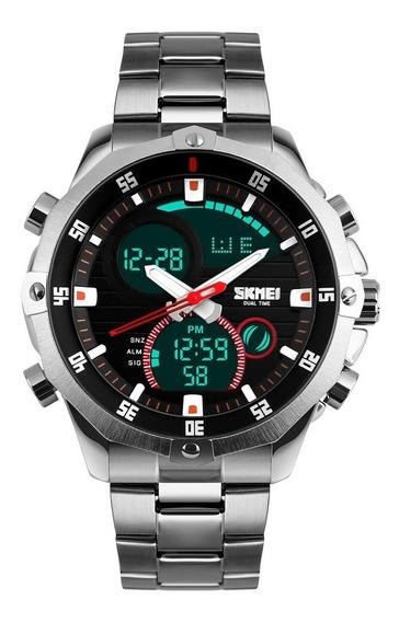 Relógio Masculino Skmei 1146 Anadigi Digital Original Luxo Analógico Aço Inox Grande Pesado C/ Caixa Promoção Nota Fisca