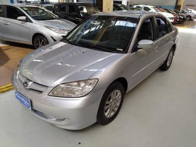 Honda Civic Lxl 1.7 Prata 2006 (automático + Banco De Couro)