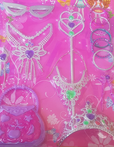Imagen 1 de 3 de Juguetes Kit Princesas Corona Gargantilla Pasadores Plastico