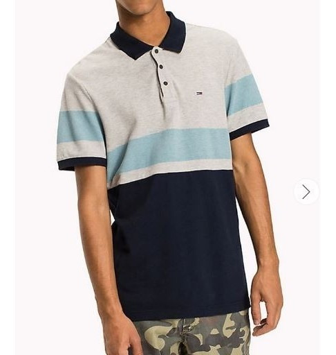 Playera Polo Tommy Jeans Gris Azul