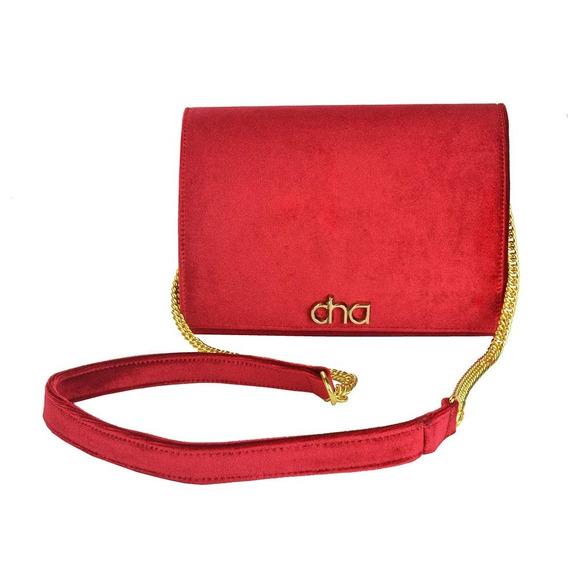 Bolsa Tiracolo Flap Veludo Vermelho Clutch Feminina Osv01