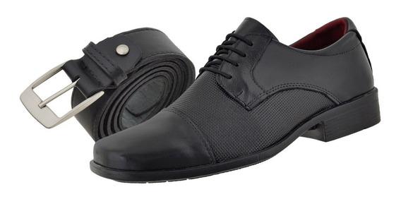 Sapato Masculino 100% Couro Mais Cinto De Couro R$ 79,90