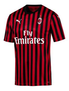 Camisa Do Milan Nova 2019/2020 Italiano Oficial - Desconto