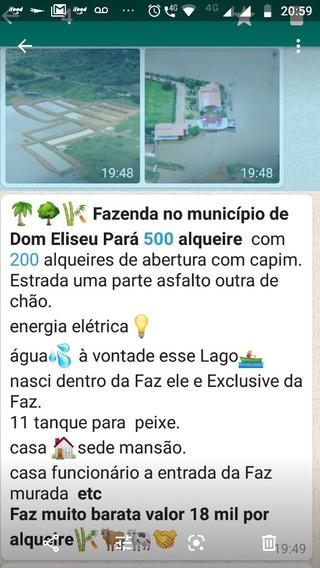 *¿¿¿ Fazenda No Município De Dom Eliseu Pará* *500 Alquei