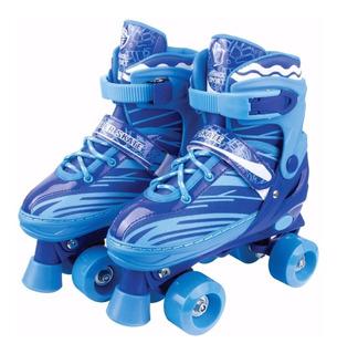 Patins 4 Rodas Clássico Azul 34/37 Ajustável Roller Skate