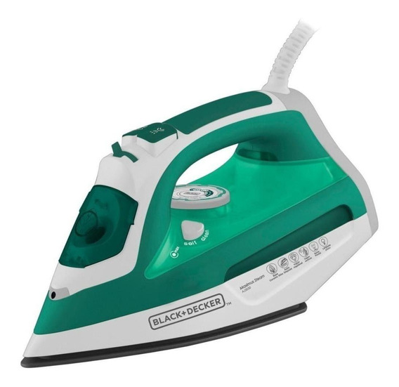 Ferro de passar a vapor Black+Decker AJ3030 branco e verde 220V