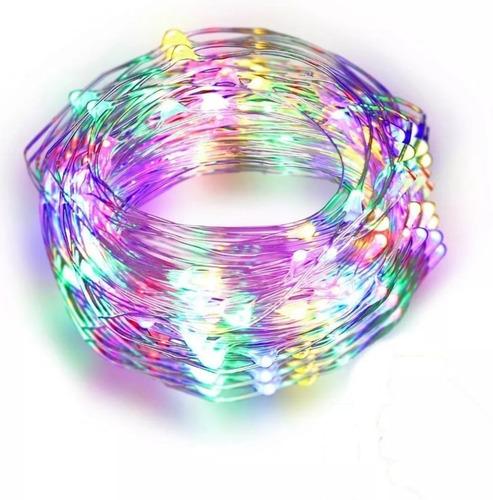 Imagen 1 de 8 de Tira Led Cable Hilo Alambre Luces Led A Pila 3 Mt Multicolor