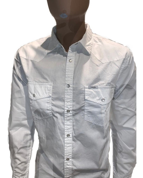 Camisa De T/ Jean Poplin Wrangler Hombre Original Blanca