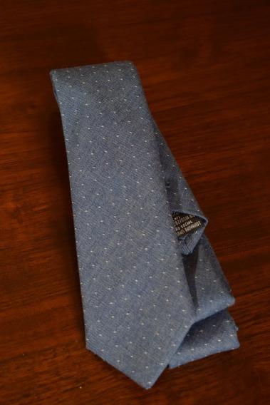Gravata Azul Jeans Poá