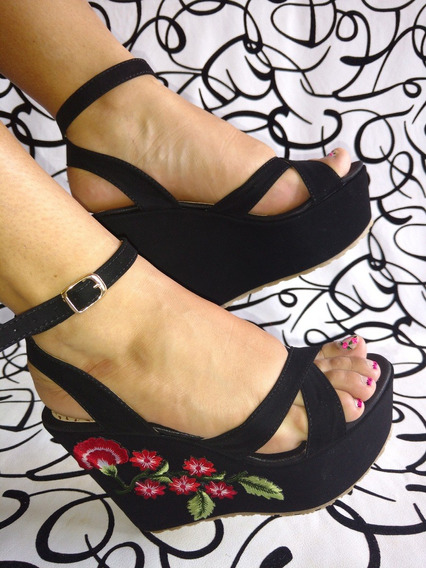 Zapatos En Plataforma Negra Sandalia Flor Borda Envío Gratis