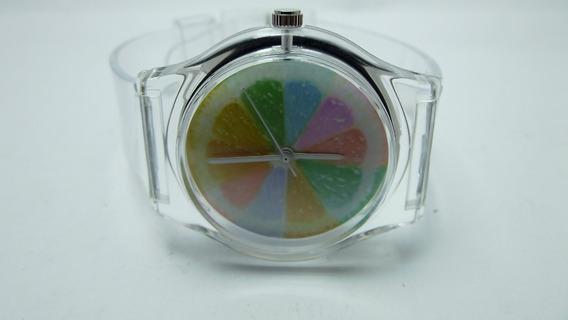 Relógio Pulso Quartz Transparente Arco Iris Top Feminino