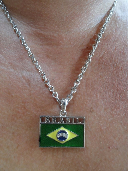 Colar Pingente Bandeira Do Brasil - Brinde Para Viajem Ao Exterior Kit C/ 100
