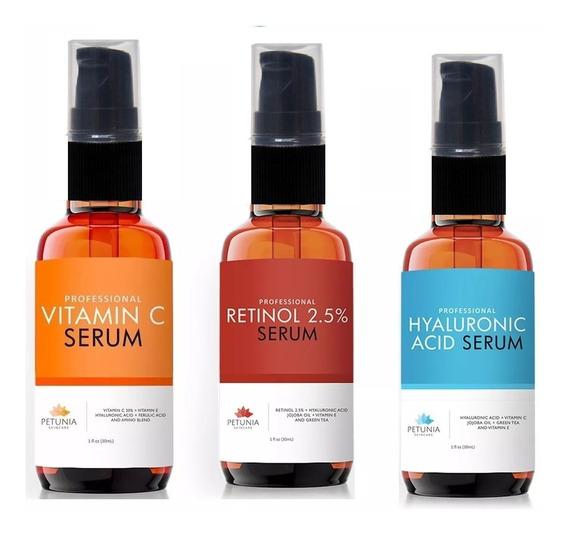 Trio Petúnia Com Pump (retinol+hialurônico+vitamina C)
