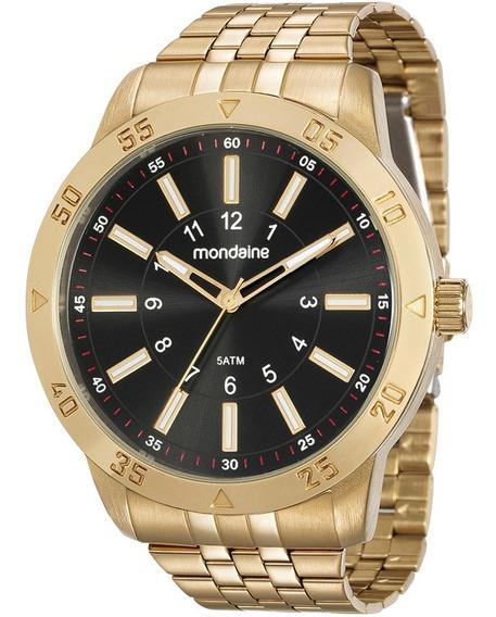 Relógio Mondaine Masculino Analógico Dourado Original + Nf