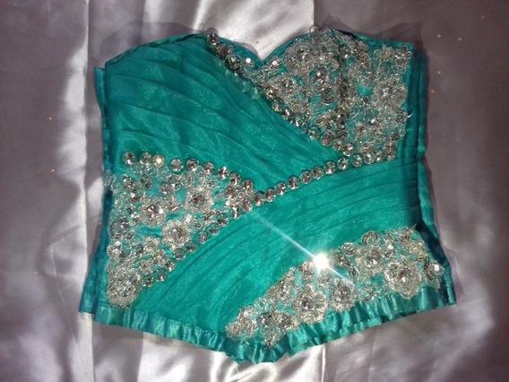 Vestido De Xv Años, Color Verde Jade Desmontable (3 Piezas)