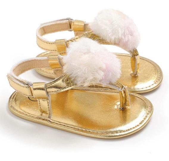 Sandália Dourada Com Pompom - Bebê Menina