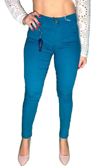 Calça Jeans Feminina Verde Aguá Cós Alto Hot Pants Skinny