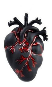 Dije Corazón Real Plata .925 Oxidada Negro Gótico Pareja