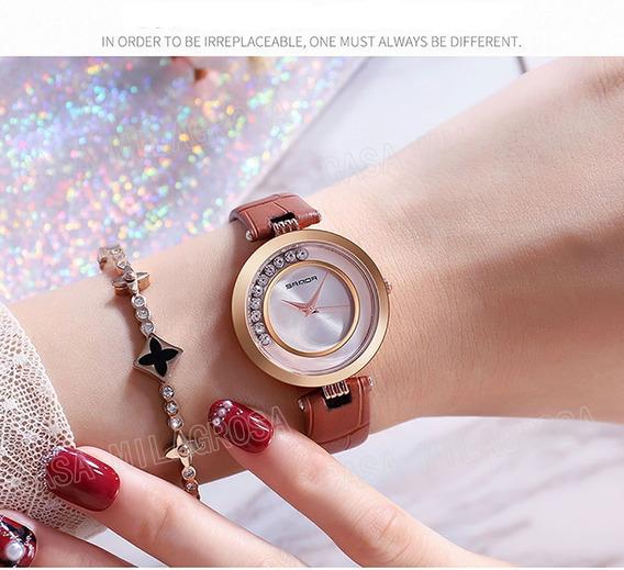 Relógio Feminino Casual Luxo Importado Couro Marrom