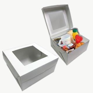 Cajas Para Desayunos Mediana Cookies Con Visor Pack X 25