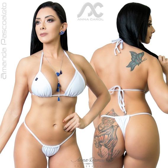 Bikinis Anna Carol Conjunto Fio Dental Cortininha Sexy Fdv-2