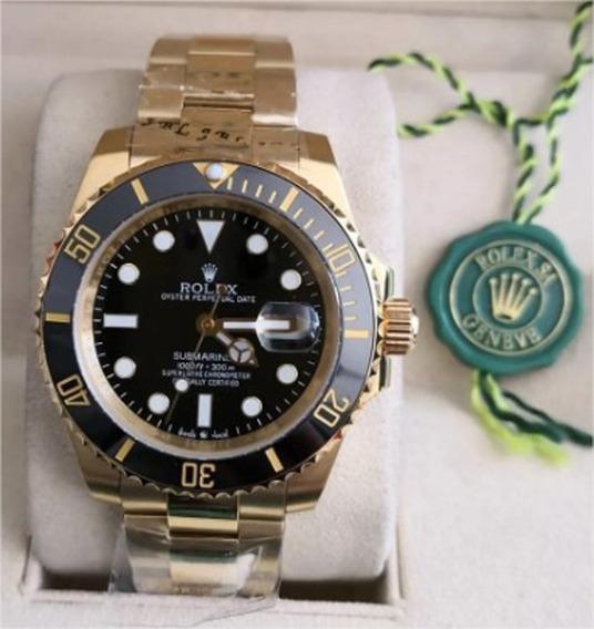 Relógio Sub-mariner 258 Suíço Dourado Fundo Preto