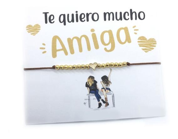 Pulsera Amiga Corazón Cuentas Chapa 14 K San Valentin