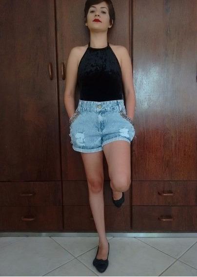 Shorts Jeans Feminino Destroyed Hot Pants Cintura Alta Promo