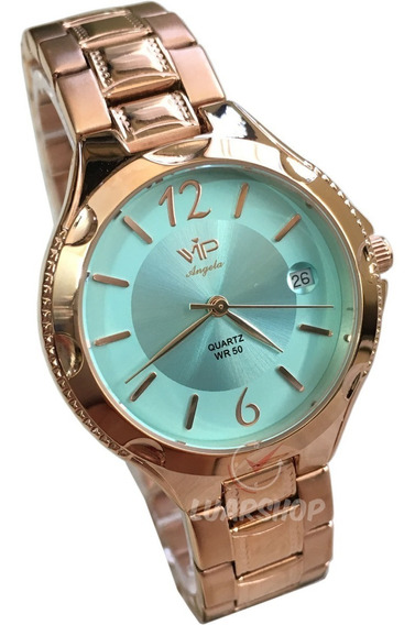 Relogio Feminino Vip Mm1305 Rose Verde Analogico Original