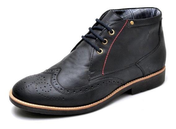 Sapato Casual Masculino Oxford Em Couro Reta Oposta