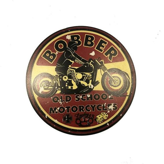Placa Decorativa Madeira Bobber Moto Cor Vermelho 35x35x1cm