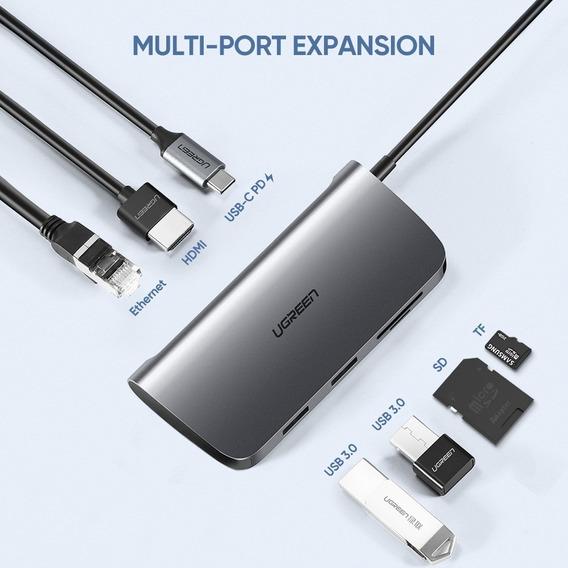 Adaptador Ugreen Thunderbolt 3 Hub Usb Rj45 Hdmi Macbook Pro Air Samsung Dex Modelo Novo A Pronta Entrega No Brasil