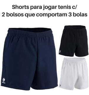 Shorts Para Jogar Tênis 2 Bolsos Grandes Cabe 3 Bolas Cada