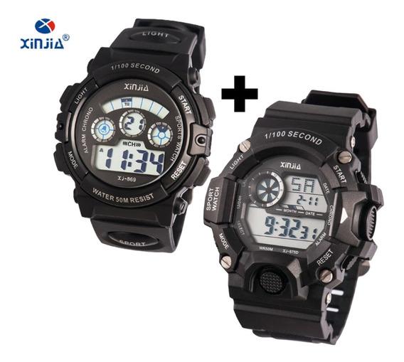 Relógio De Pulso Xinjia Xj-869 + 875d Pulseira Borracha Pret