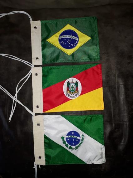 Kit Bandeira Moto Brasil, Rio Grande Do Sul, Paraná, Bordado