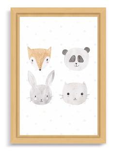 Cuadro Infantil Box 30x40 Natural Cute Animals